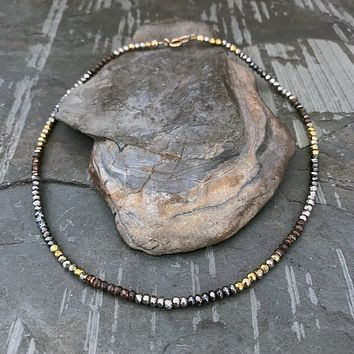 Multi Color PYRITE Gemstone Bead Necklace