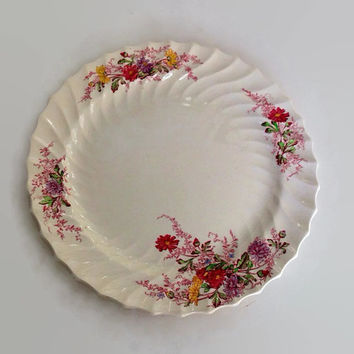 """Vintage Spode China-Chop Plate-Large Platter-13""""-Ferry Dell Pattern-Made in England-Multicolor Floral Sprays-Swirl Rim-Replacement China"""