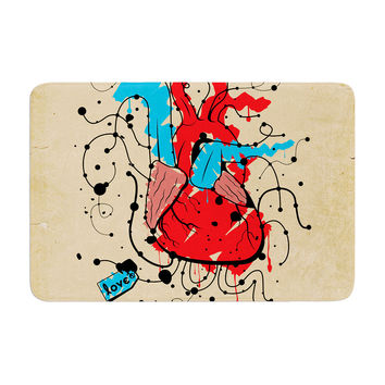 "Roberlan ""Heart"" Red Blue Memory Foam Bath Mat"