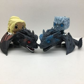 2pcs/set Game of Thrones Daenerys Targaryen Night King Doll With Dragon Action Figures Toy Christmas Gift NO BOX