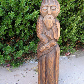 Monk Wood Carving Sculpture Hand Carved Statue