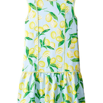 Oscar de la Renta Childrenswear Painted Lemons Cotton Drop Waist Dress (Toddler/Little Kids/Big Kids)