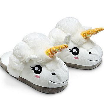 Unisex Plush Unicorn Cotton Home Slippers for White Despicable Winter Warm Chausson Licorne Indoor Christmas Slippers Size 36-41