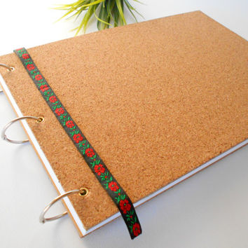 Cork hardcover sketchbook journal with 200 pages, A4,A3,A5 ring rustic sketchbook- personilized journal with metal album rings binding