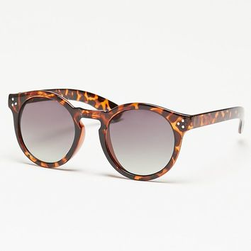 With Love From CA Tortoise Print Plastic Round Sunglasses - Womens Sunglasses - Brown - One