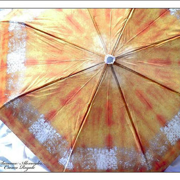 Fashionable Art Rain Travel Umbrella IN STOCK Gold Silver Rust Shibori