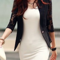 Stylish Plunging Neck 3/4 Sleeve Spliced Solid Color Blazer For Women
