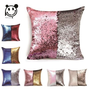 PEIYUAN Cushion Cover Reversible Mermaid Sequin Magical Color Changing Throw Pillow Covers Decorations for Sofa Cushion Cover