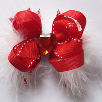 Red girls hair bow, sweetheart boutique bows, Mini stacked hair bow, red hot heart hair bows, shabby chic, baby girl clippies, boa feathers