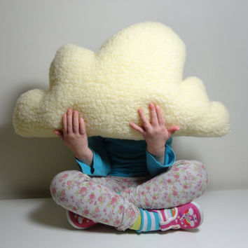 FLUFFY CLOUD PILLOW Cushion Cream Colour Faux Sheepskin Fleece Lovely Soft and Fluffy  - Baby Nursery, Childrens or home decoration