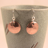 Sterling Silver Copper Hammered and Domed Disk Earrings