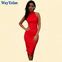WayToIan  Spring Summer Fashion Turtleneck Sleeveless Elegant Pencil Dress Women Sexy Club Cocktail Party Bodycon Bandage Dress
