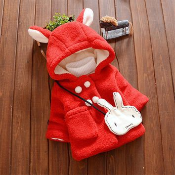 Hot Sales Cute Rabbit Winter Baby Girls Jacket New Fashion Long Sleeve Cotton Warm Kids Outcoat Newborn Baby Children Coat SSB09
