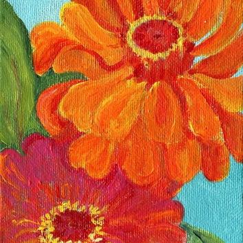 Two zinnias, red and fuschia  canvas panel, Original  flower artwork,  4 x 6