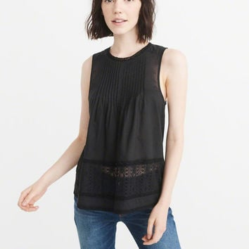 Womens Pintuck Peplum Tank | Womens Up To 50% Off Select Styles | Abercrombie.com