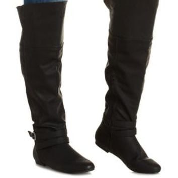 Black WIDE FIT Belted Over-the-Knee Boots by Charlotte Russe