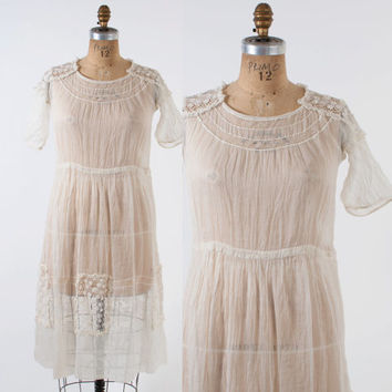 EDWARDIAN Tea DRESS / 1910s White Cotton Voile & Crochet Lace Day Dress S - M