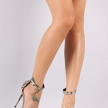 Python Print Lucite Band Open Toe Stiletto Heel