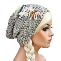 Slouch Beanie Grey Oatmeal with Elegant Shabby Textiles