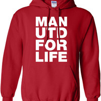 Manchester United man u for life football pride england brit graphic united kingdom hoody hooded sweater Mens Ladies Womens kid soccer ML148