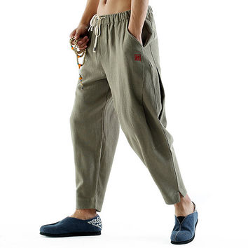 Mens Retro Breathable Cotton Linen Drawstring Solid Color Loose Fit Casual Pants