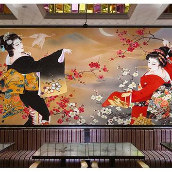 Japanese Sushi Cuisine Shop Wallpaper Restaurant Hotel Theme Package Mural Background Wall 3d Japanese Ladies Wallpaper