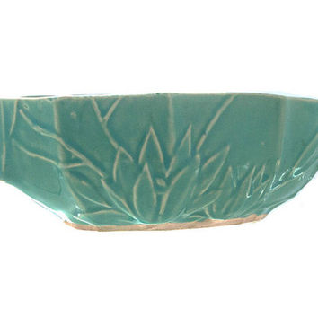 Aqua Nelson McCoy Pottery Vintage McCoy Planter Teal Glaze Water Lily  1930s Mark Console Bowl Home and Outdoor Garden Decor