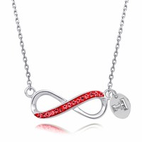 Texas Tech Jewelry Red Crystal Infinity Necklace. Free Shipping
