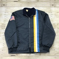 Vintage 1970s The Great Lakes Navy Blue Three Stripe Racing Jacket Mens Size Large