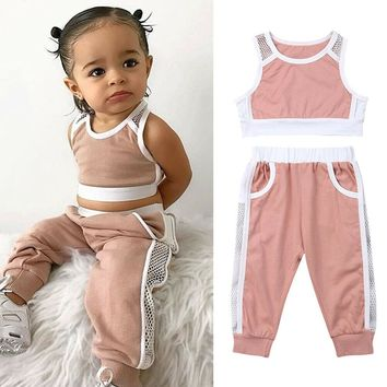 US Stock Girls Mesh Tracksuit Crop Tops+Long Pants 2Pcs Outfits Sports Clothes