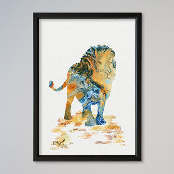Lion Watercolor Poster Print Nursery Art Print Home Decor Wall Decor Animal Art Poster Lion Poster