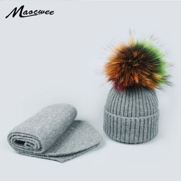 Winter Knitted Wool Hats Scarf for Women Colorful Pompon Beanies Fur Hat Female Warm Caps With Natural Genuine Raccoon Fur Cap