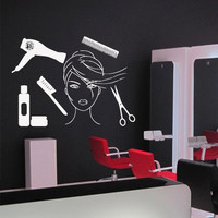 Wall decal decor decals art hair salon beauty master stylist comb hairdryer brush scissors face hairstyle tools girl woman (m947)