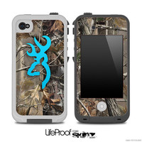 Turquoise Camo Browning Skin for the iPhone 4/4s or 5 LifeProof Case