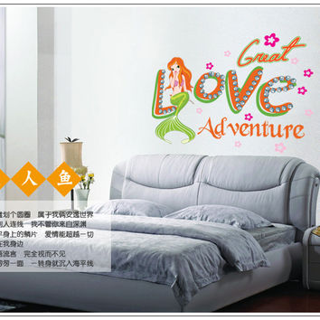 The new mermaid sitting room bedroom home decoration wall removable wall stickers SM6