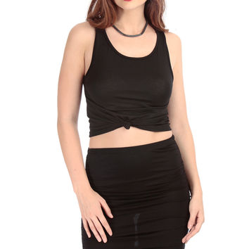 Black Knotted Sleeveless Crop Top