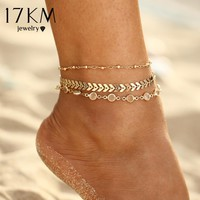 17KM Crystal Sequins Anklet Set For Women Beach Foot jewelry Vintage Statement Anklets Boho Style Party Summer Jewelry 3Pcs/lot