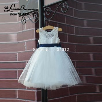 Best rustic ivory lace flower girl dresses products on wanelo first communion dresses rustic lace navy blue sashbow flower girl dress white country toddler mightylinksfo