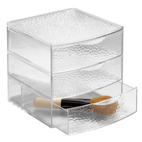 Vanity Organizer, 3 Drawer Box - Large, Clear