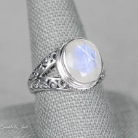 Sterling Silver Large Ornate Filigree Set 10.5x12mm Natural Rainbow Moonstone Ring