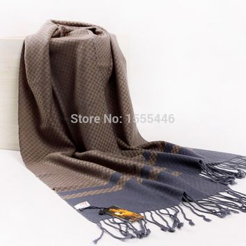 Free Shipping Winter Wool Cashmere Pashminas For Mens Luxury Brand Maroon Tartan Plaid Scarf Gifts Gentleman Handmade Scarves