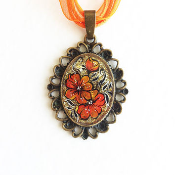 Hand painted Pendant Hot Summer.orange golden flowers vintage style gift for her