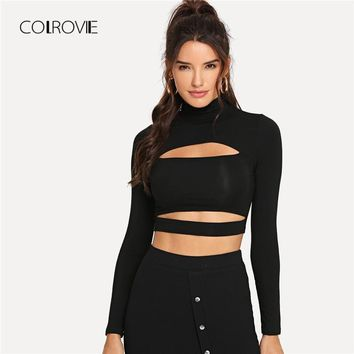 COLROVIE Solid High Neck Cut Out Sexy Crop Black T Shirt Women Tops 2018 Autumn Long Sleeve Tee Street Office Female T-Shirts