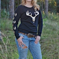 Black crew neck sweater with gold glitter big buck skull