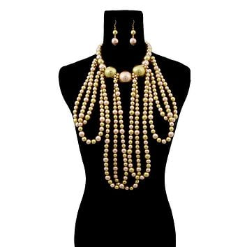 Green and Gold Pearl Necklace Set Featuring Long Draping and Jumbo Pearl Neckline