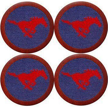 Southern Methodist University Needlepoint Coasters in Blue by Smathers & Branson