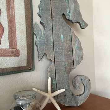Handmade Large Seahorse, Primitive Ocean Beach Decor from Recycled Pallet Wood