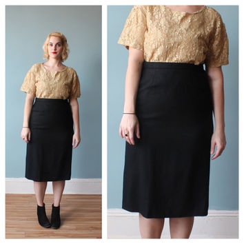 plus size pencil skirt / black classic pencil skirt / 1980s / XL - XXL