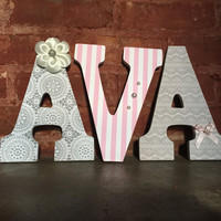 Custom decorative wooden letters, wooden names, girls room, nursery decor, gray and pink