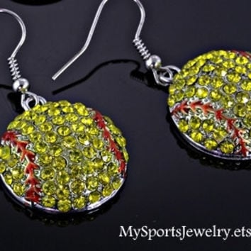 Cute Softball Rhinestone Earrings